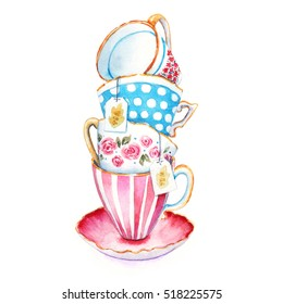 The clip-art tea cups to design menus or postcards. Watercolor illustrations in the style of the country. Isolated on white background. Hand drawn painted. Closeup.