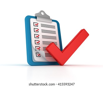 Clipboard Check List with Check Mark on White Background  - High Quality 3D Render