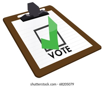 Clipboard Checkbox with green checkmark and the word vote.