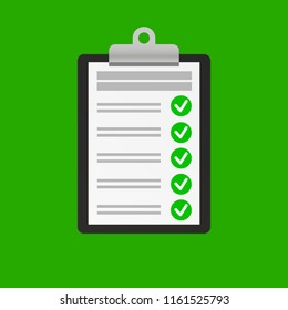 Clipboard with checklist icon on green background. 3D illustration.