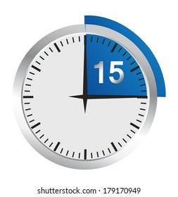 Clock 15 Minutes To Go - Bright Chrome Clock isolated on White background