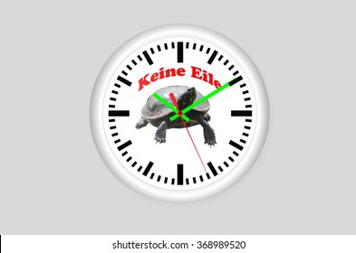 Clock against a gray Background, in the middle of a turtle and the inscription No hurry.