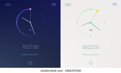 Clock application for apps on light and dark background. Digital countdown app, user interface kit, mobile clock interface. Concept of UI design, day and night variants. UI elements, 3D illustration.