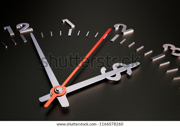 Clock with Dollar Sign. Black Background. Time is Money- Concept. 3D illustration
