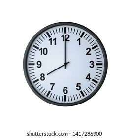 Clock face showing eight o'clock , isolated on white , 3d render