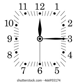 Clock face. Square shape. Twelve fifteen. Illustration. Raster version