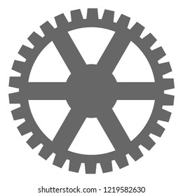 Clock gearwheel icon on a white background. Isolated clock gearwheel symbol with flat style.