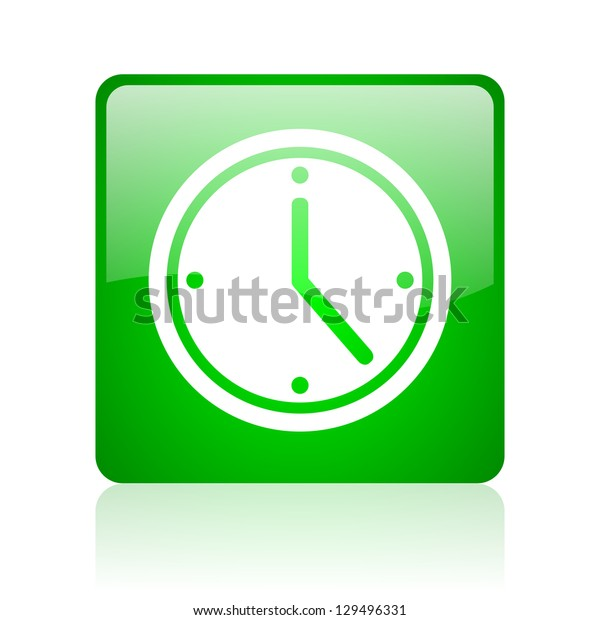 clock green square web icon on white background