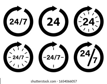 Clock icon collection. Organization work schedule 24 7. Set of pictograms for design