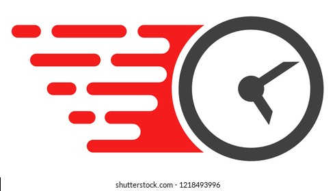 Clock icon with fast rush effect in red and black colors. Raster illustration designed for modern abstraction with symbols of speed, rush, progress, energy.