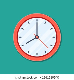 Clock icon in flat style, timer isolated on green background. Business watch. design element for you project.