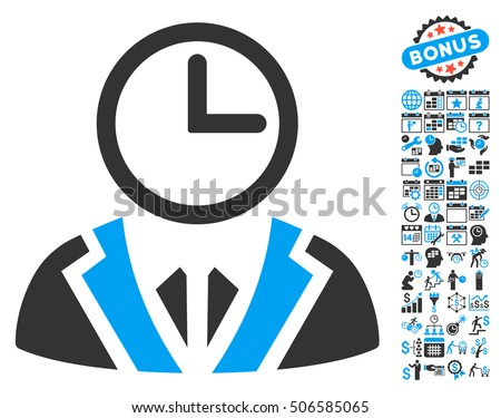 5239b8ac56b Clock Lord icon with bonus calendar and time management clip art. Glyph  illustration style is