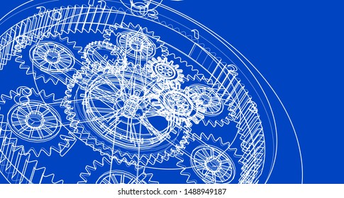 clock, mechanism, sketch, 3d illustration