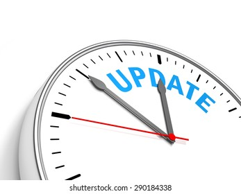 Clock on a white background containing the text update. 3D Illustration