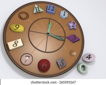 Clock plastic figures didactic geometric.puzzle table. 3d illustration