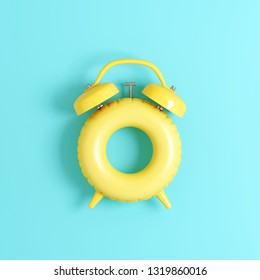 Clock ring floating on pastel blue background. Summer time concept. 3d rendering