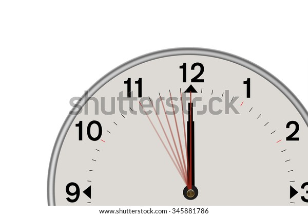 Clock Showing Midnight 5 Second Countdown Stock Illustration 345881786