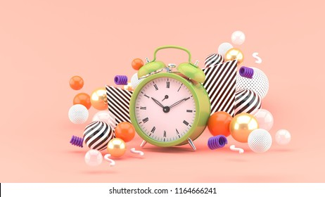 Clock surrounded by colorful balls on a pink background.-3d rendering.