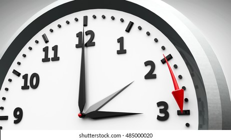 Clock switch to summer time (daylight saving time begins) isolated on a white, three-dimensional rendering, 3D illustration