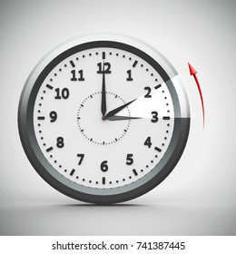Clock switch to winter time (daylight saving time ends) isolated on a white, three-dimensional rendering, 3D illustration
