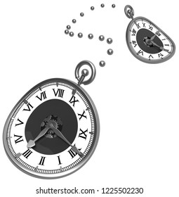 Clock time symbol, soft flexible surreal, dotted line two, 3d illustration, isolated, horizontal, over white