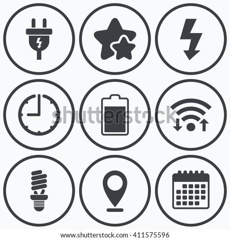 clock wifi stars icons electric plug stock illustration 411575596 Wi-Fi Internet clock wifi and stars icons electric plug icon fluorescent l and battery symbols