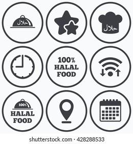 Clock, wifi and stars icons. Halal food icons. 100% natural meal symbols. Chef hat sign. Natural muslims food. Calendar symbol.