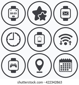 Clock Wifi Stars Icons Smart Watch Stock Illustration 408677020
