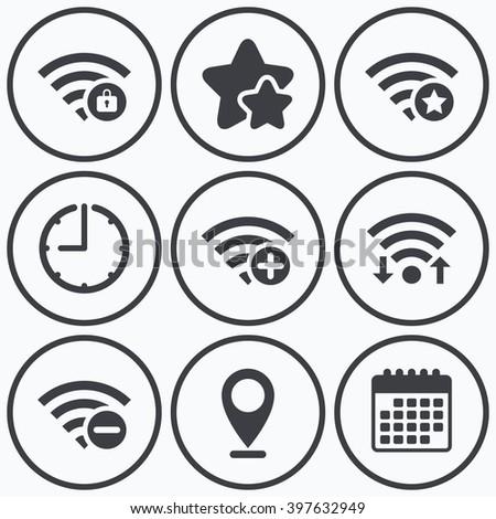 Clock Wifi Stars Icons Wifi Wireless Stock Illustration