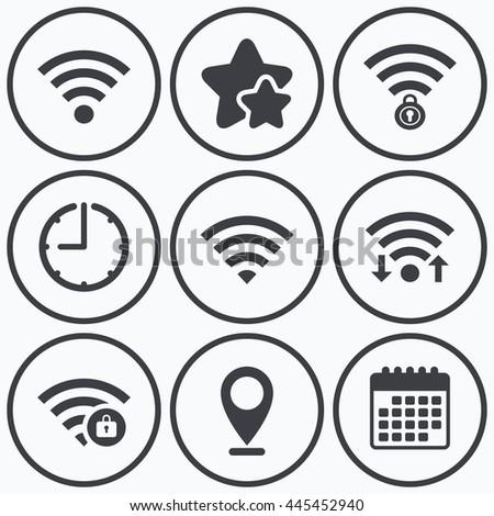 Clock Wifi Stars Icons Wifi Wireless Stock Illustration 445452940