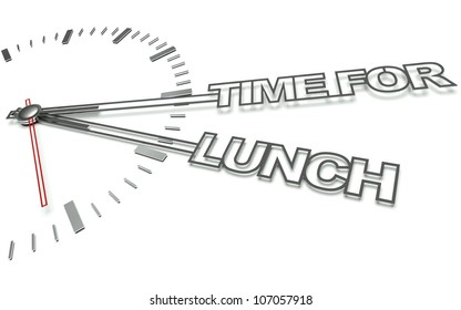 Clock with the words Time for lunch, concept of eat