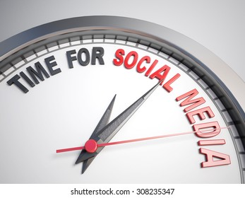 Clock with words time for social media on its face