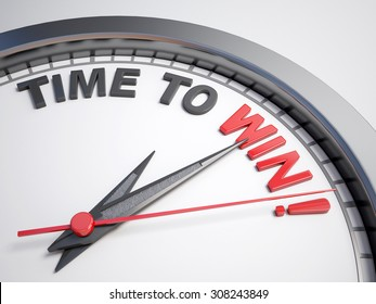 Clock with words time to win on its face
