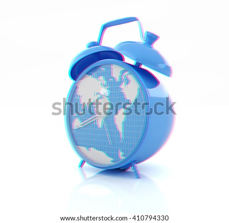 World Map 3d View.Clock World Map 3 D Illustration Anaglyph Stock Illustration