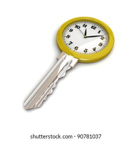 Clock-Key. Concept of Successful time management or other. 3d illustration.