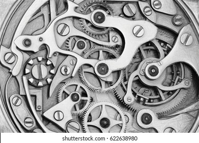Clockwork 3D rendering machinery with gears grayscale sketch