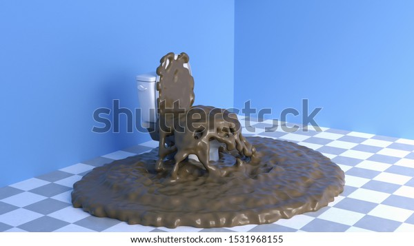 clogged toilet in a blue room, 3d illustration
