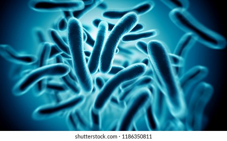 Close up of 3d microscopic blue bacteria. 3D illustration