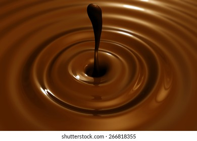 Close 3D rendering of abstract chocolate drop with focus effect