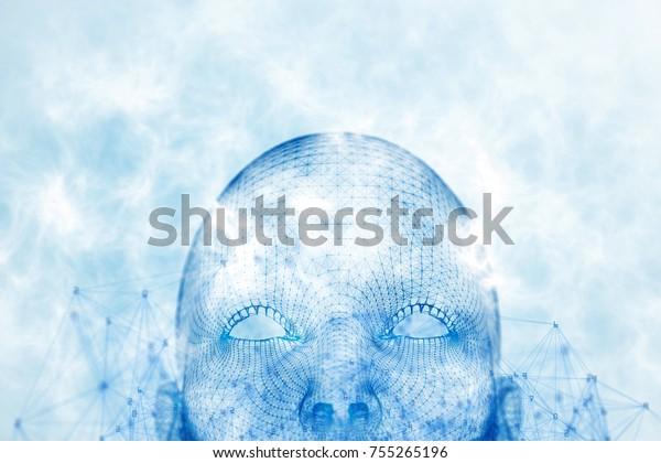 Close up of abstract glowing polygonal head background with neurons. Artificial intelligence and technology concept. 3D Rendering