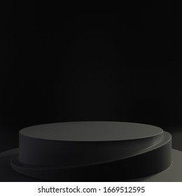 Close up of all black empty pedestal for product showcase on a black dark background. Abstract shape. Mockup template. 3d render illustration