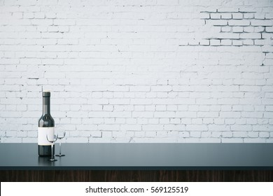 Close up of bar counter with wine bottle, glasses and blank brick wall. Mock up, 3D Rendering