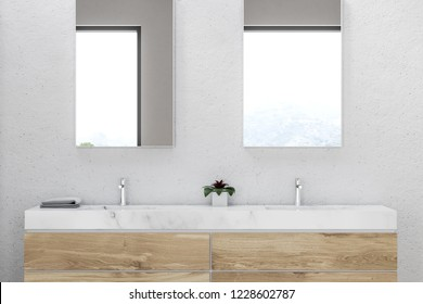 Close up of bathroom double sink made of marble standing on wooden countertop with two vertical mirrors hanging above it in white wall room. 3d rendering