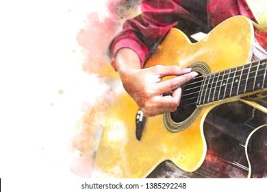 Close up beautiful woman playing acoustic guitar on walking street on watercolor painting background.
