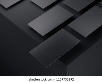 Close up of black business cards set on black background, 3d rendering.