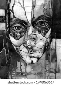 Too close in black and white. Unusual modern hand-drawn watercolor portrait of a young man with big green eyes. Contemporary graphic art.