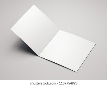 Close up of blank open white leaflet on light background, 3d rendering.