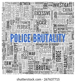 Close up Blue POLICE BRUTALITY Text at the Center of Word Tag Cloud on White Background.