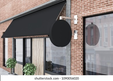 Close up of a brick restaurant exterior with potted plant standing near the door and a blank signpost. 3d rendering mock up