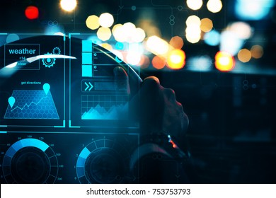 Close up of businessman hands driving car with abstract glowing digital interface. Transportation and hud concept. 3D Rendering